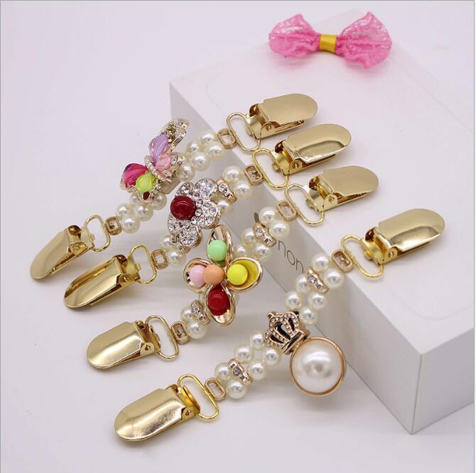 1 Neue Ente Clip Elastische Perlen Perle Pullover Strickjacke Clip Brosche Mode Metall Tasten Für Kleidung Dekoration Haken