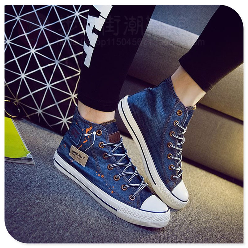 Blue Denim Canvas Shoes Men Spring Autumn Outdoor Mens Casual Shoes Hot Sale Leisure Man Flats Retro Zapatos Hombres Hightops in Men 39 s Casual Shoes from Shoes