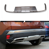 Silver Exterior Rear Skid Plate Bumper Board Cover 1pcs Fit for Peugeot 3008 / 3008 GT / 3008GT 2016 2017 2018