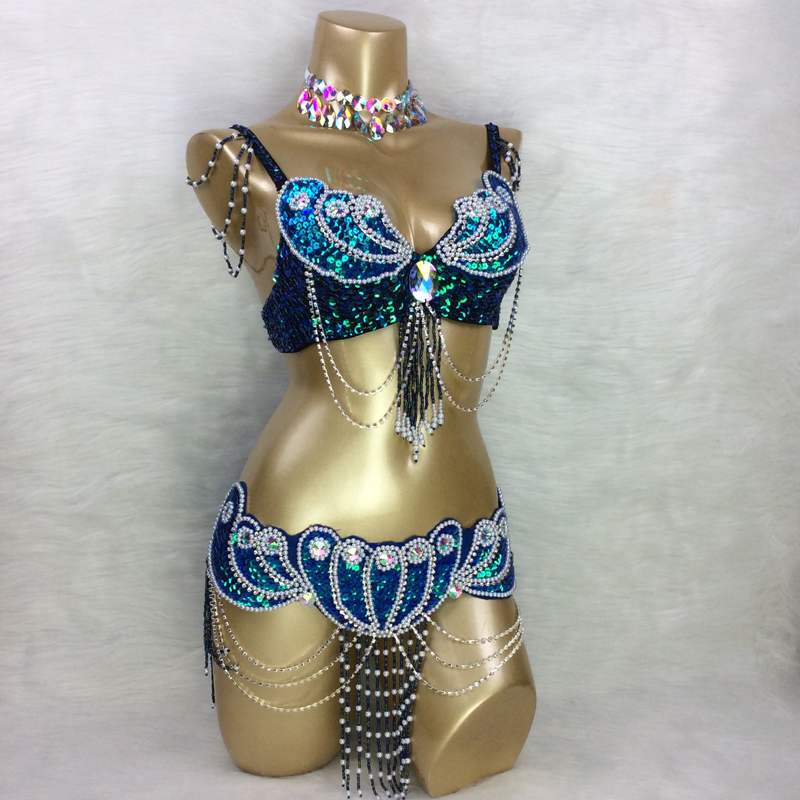 Fait sur mesure nouveau costume de danse du ventre ensemble soutien-gorge + ceinture + collier 3 pièce/ensemble, toute taille, 34/36/38/40/42 B/C/D/DD