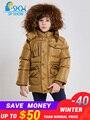 2019 Winter Kinder Kleidung der Junge Mantel Luxus Marke Verbreitert Waschbären Pelz Kappe Dicke Fleece Warme Unten Jacke Für Kinder mantel
