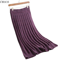 LXUNYI New Autumn Korean Casual Long Knitted Skirts Women Winter Elastic Waist Wool Skirts Womens 2018