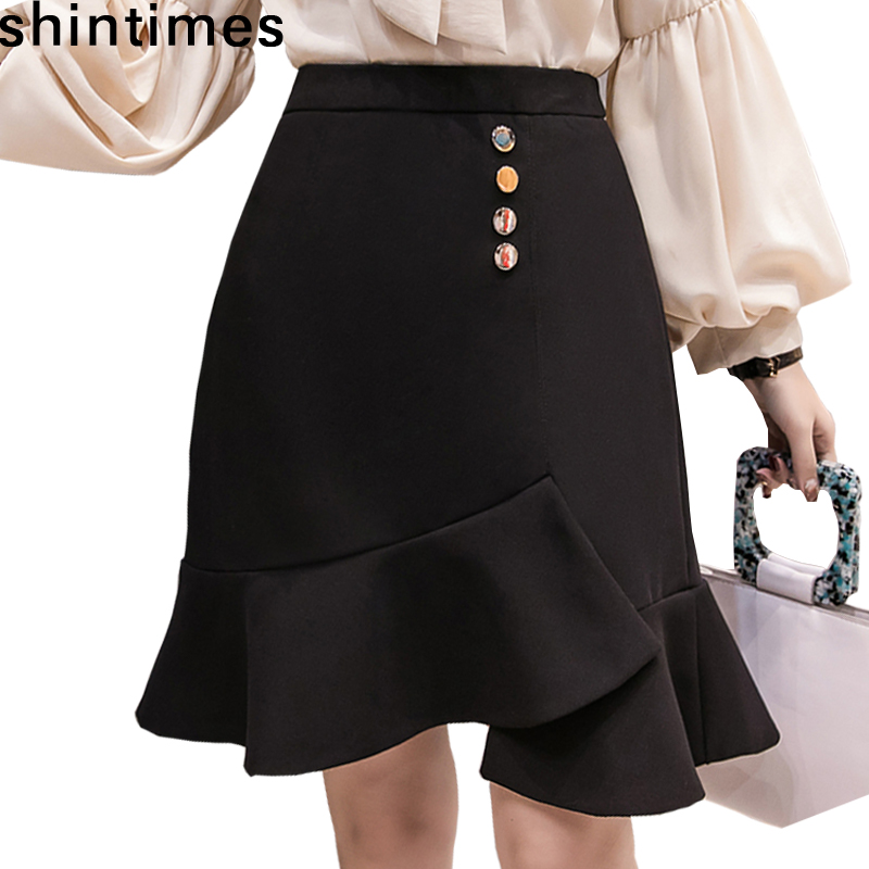 Shintimes Spring And Autumn The New High Waist Skirt Womens 2019 Korean Fashion Mermaid Skirt Black Cotton Office Skirts Womens