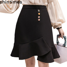 Shintimes Spring And Autumn The New High Waist Skirt Womens 2019 Korean Fashion Mermaid Black Cotton Office Skirts
