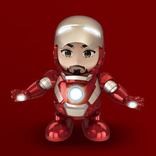 The Avengers Music hero Dance Iron Man Robot With LED Flashlight Action Figure Model Electr