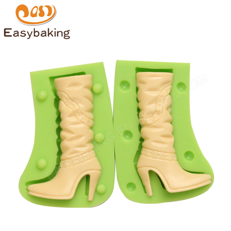 2PCS/SET Women High Heels Thigh Boots Shape Fondant Cake Decors Mold Chocolate Silicone Molds Sugar Icing Mould