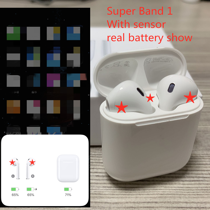 Best Super Brand 1 AP with smart sensor Wireless Bluetooth Earphone With Charging Box Headphone for
