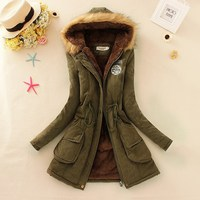 winter coat warm long women parkas pockets black long sleeve solid zipper hooded female plus size womend jacket winter pink