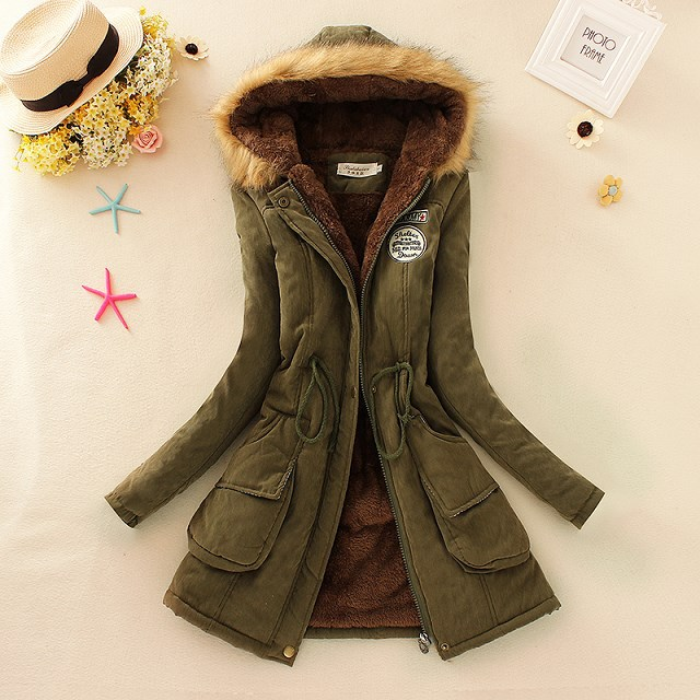 winter coat warm long women   parkas   pockets black long sleeve solid zipper hooded female plus size womend jacket winter pink