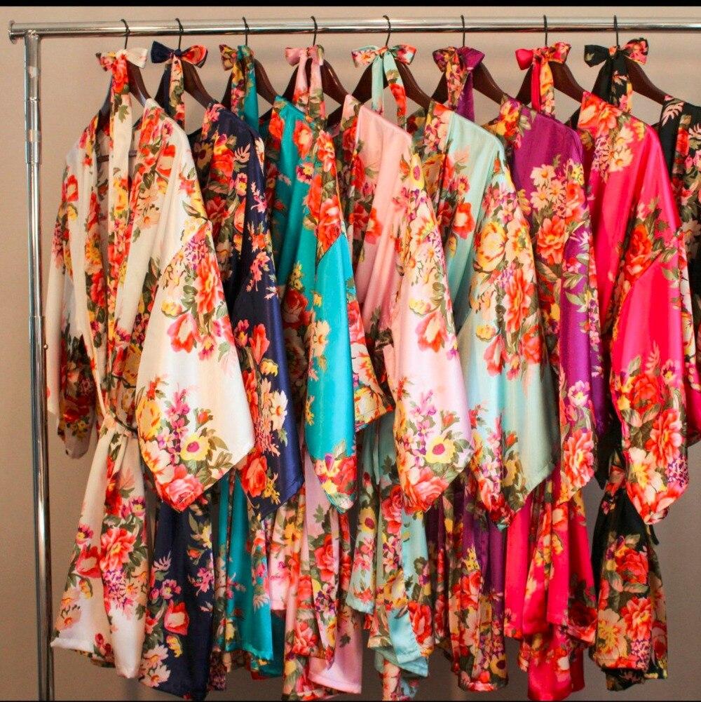 LP002 De Mariage Mariée Demoiselle D'honneur Floral Robe Satin Rayonne Peignoir Chemise de Nuit Pour Les Femmes Kimono de Nuit de Fleur Plus La Taille