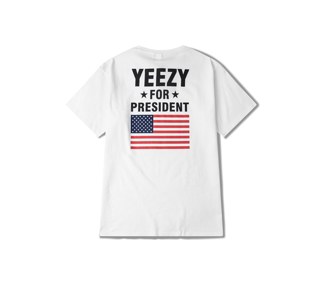 The new round neck t-shirt men's shirt yeezy tide American flag and Kanye