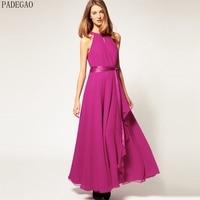 PADEGAO Rose Red A Line Maxi Dress Sexy Off The Shoulder Asymmetrical Ruffles Long Formal Evening