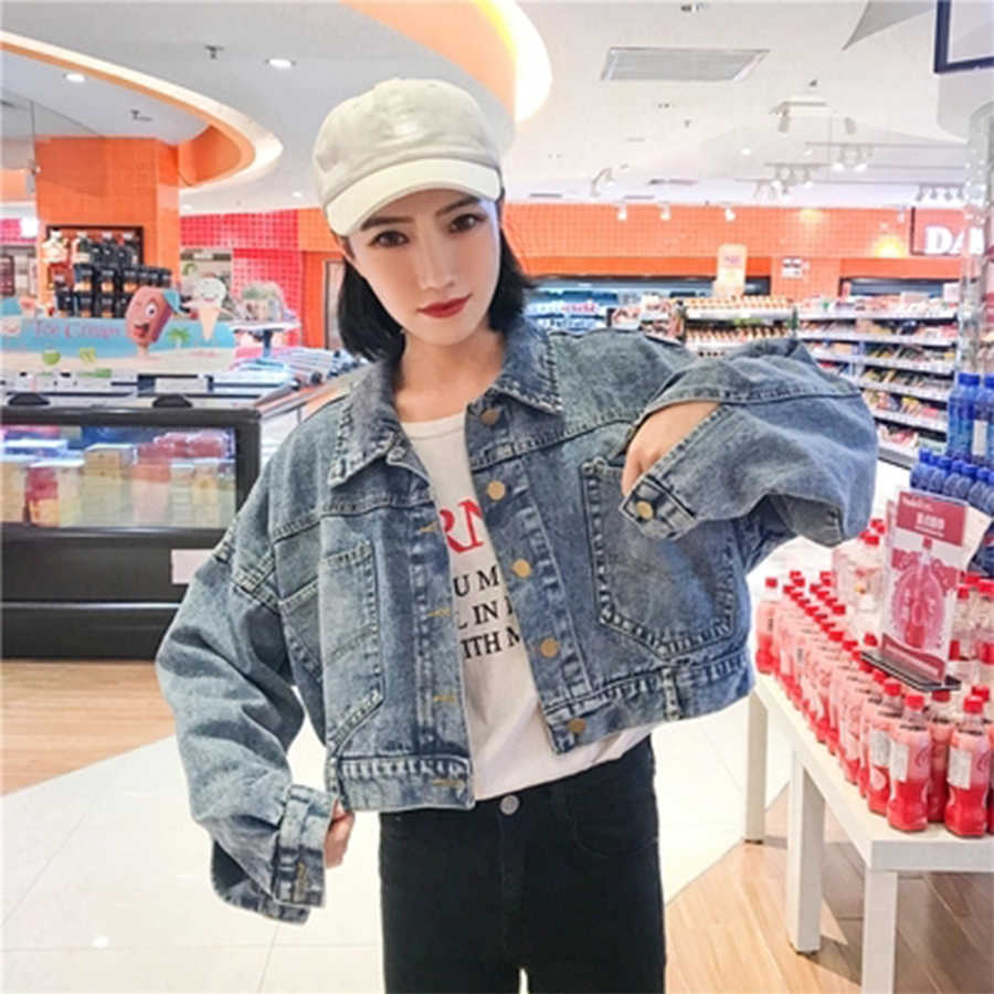 Women Lapel Short Denim Jacket Single Breasted Vintage Style Soild Loose Long Sleeve Korean Female Outerwear Thin Casual New2018