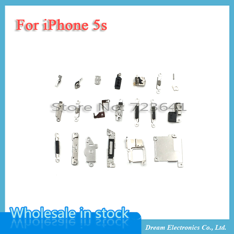 5sets/lot New Inner Accessories 21Pcs for iPhone 5S Inside Small Metal Parts Holder Bracket Shield Plate Set Kit Free shipping