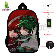 Anime My Hero Academia Multifunction Backpack Deku Shoto Bakugou School Bags for Teenage Boys Girls USB Charging Laptop Backpack cool robot anime fans gundam backpack zion hero char aznable s custom backpack red and black color for selection ab227