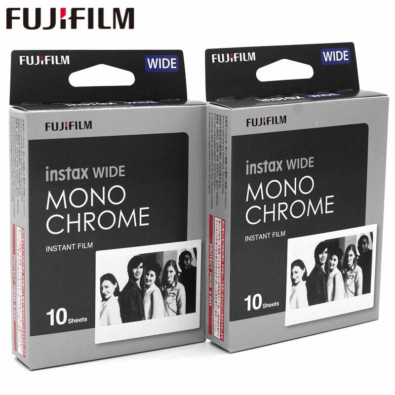 Véritable Film Monochrome Fujifilm Instax large blanc 20 feuilles pour appareil Photo papier Photo instantané Fuji 300/200/210/100/500AF