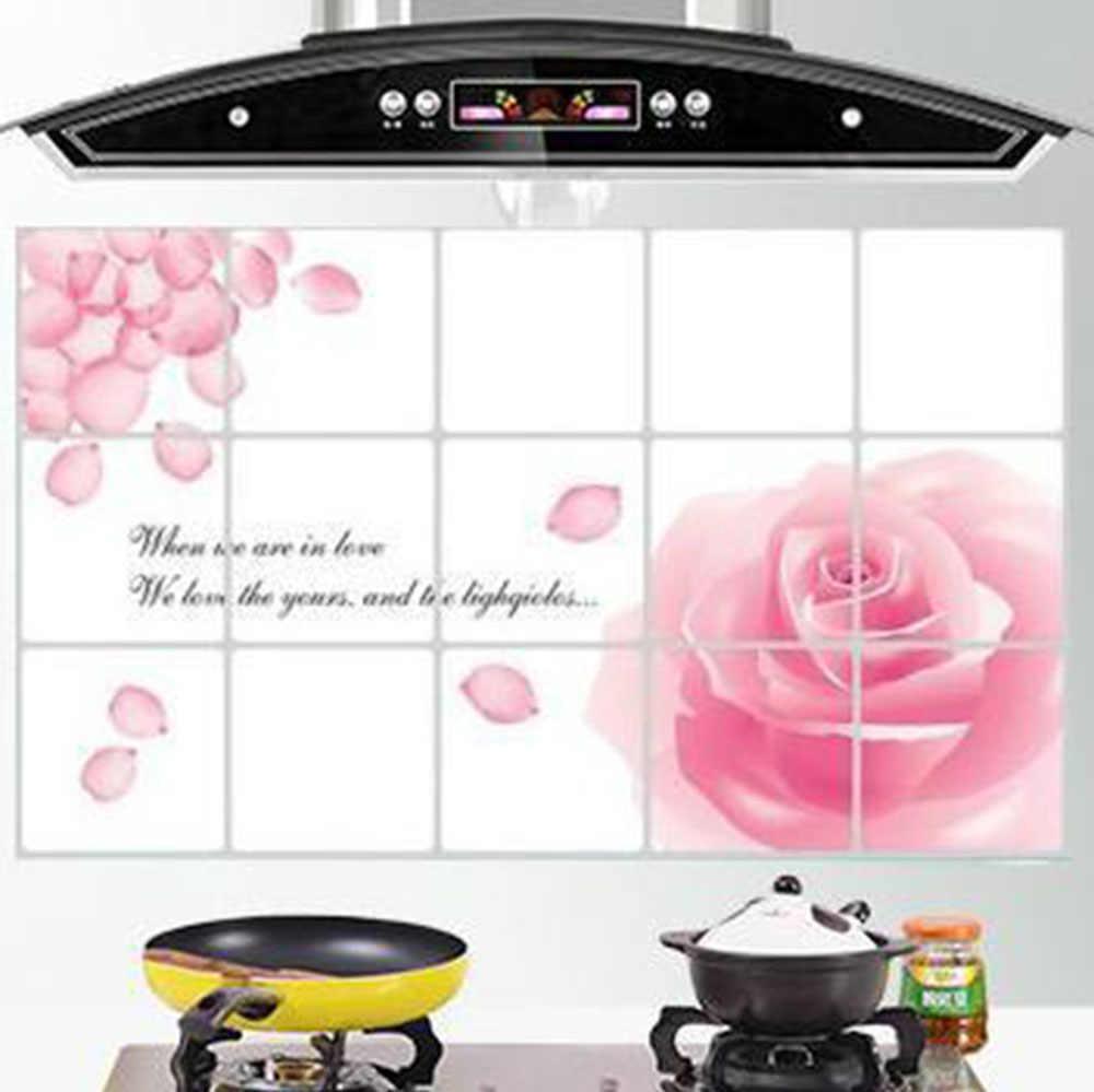 Wallpaper Dapur Stiker Tahan Air dan Minyak Bukti Stiker Dekorasi Rumah Dapur Dekorasi Dinding Ubin Pola Bunga HG0221