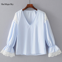 SheMujerSky Women White Lace Blouse V Neck Long Sleeve Blue Ladies Tops Lace Patch Work Blusa