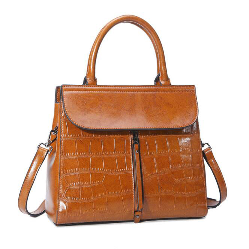 2017 High Quality Women Genuine Leather Handbags Plaid Top-handle Totes  Shoulder Bags Vintage Alligator Messenger Bag Bolsas