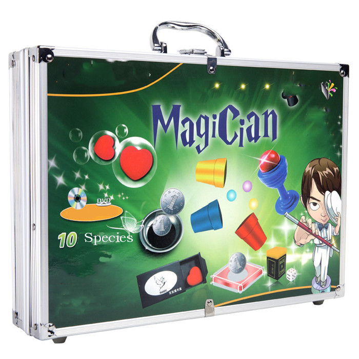 1 Set Magic Props Suit with A Variety of Classic Magic Props  Learning Magic Necessary Props  Incidental Teaching DVD escaping magic props silver champagne