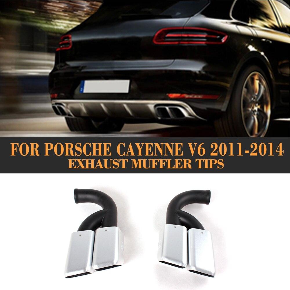 En Acier inoxydable Auto Voiture D'échappement Conseils Fin Silencieux pour Porsche Cayenne V6 V8 2011-2014 2 pcs Carré cercle noir Blanc