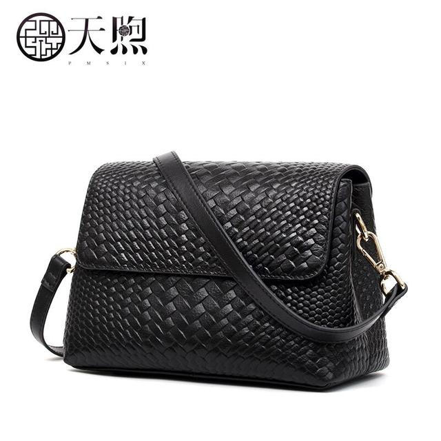 a829a98fe850 Pmsix leather handbags small package tide new 2017 knitting embossed bag  fashion summer ladies shoulder Messenger