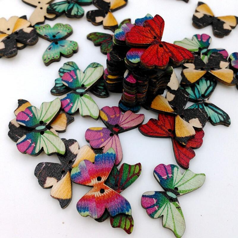 50Pcs 2Holes Mixed Butterfly Wooden Sewing Buttons Sewing Scrapbooking DIY Craft