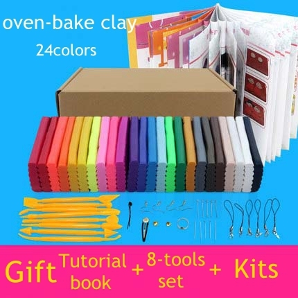 24 colors oven-bake fimo polymer clay with tools DIY toys Early Education brinquedo fashional soft clay