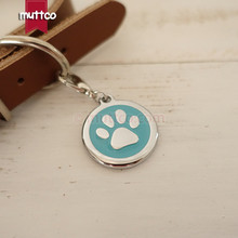 Freeship 30mm paw print dog tags dog id tags for pets,free shipping metal round dog name tags collar cat puppy blank dog charm(China)
