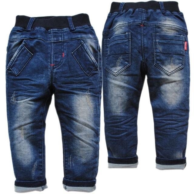 3800 Простые твердые детских causaul брюки повседневные брюки мальчика девушки дети джинсы весна осень темно-синий 2016 новый