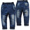 3800 Simples sólidos causaul calças calça casual das crianças das meninas do menino crianças calças jeans primavera outono azul marinho 2016 novo
