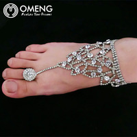 OMENG Fashion Barefoot beach sandals Bridal/wedding diamante anklet foot Jewelry crystal chain anklets OJL028