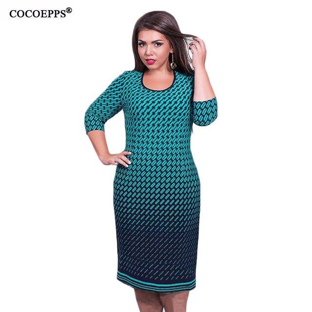 97eae41620e Grande taille femmes bureau travail imprimé Floral robe régulière moulante  robe de soirée 2019 nouvelle robe