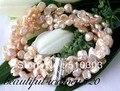 "4 Strands  8"" 8 mm baroque keshi pink keshi pearl bracelet"