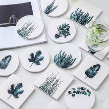 CFen As Green Plant Drink Coasters Ceramic Coaster Tea Cup Pad Round Table Mat Coffee Place Mats 1pc