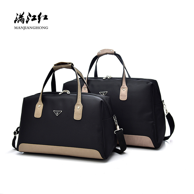 Fashion Nylon Shoulder Travel Bag Women Patchwork Leather Men Travel Duffle Bags Large Casual Tote Travel Luggage Bag 15-2328