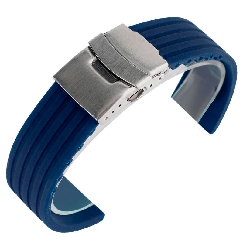 Correa de reloj de silicona de alta calidad de 20 mm 22 mm 24 mm para hombre, mujer, deporte, caucho, azul / naranja, correa para la muñeca, buzo, impermeable