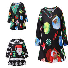 2018 Children Dresses Autumn Long Sleeve One-piece Kids Girls Christmas Outfit Spring Toddler Baby Cotton Princess Dress Clothes(China)
