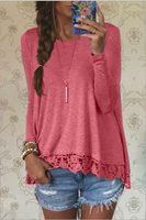 Newest Spring Summer Women Blouses Lace Sexy Strapless Hollow Out Blusas O Neck Long Sleeve Tops