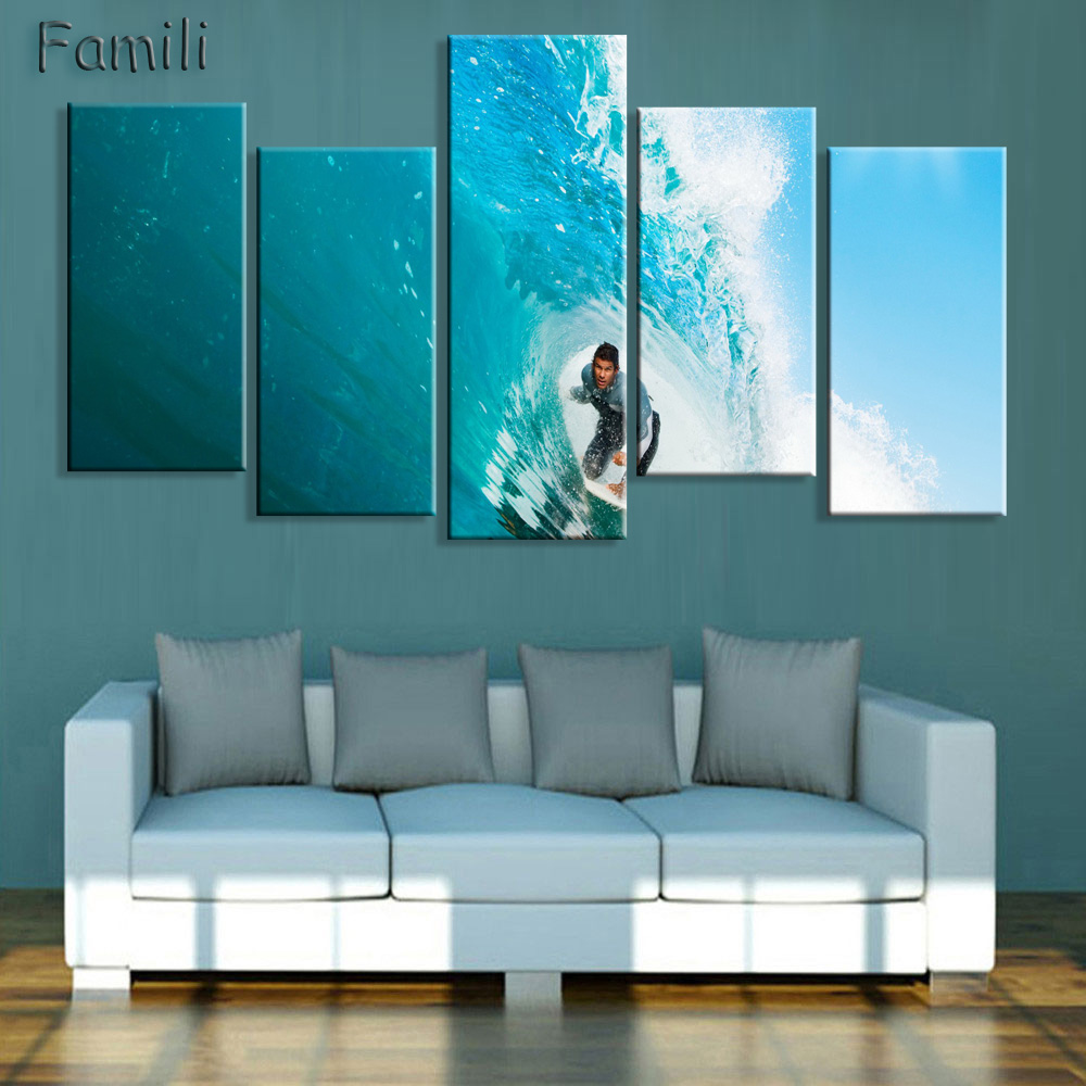 New Canvas Printings 5 Pcs/Set Picture Painting Modern Home Wall Decor So Cool Surfing Unframed Canvas Print For House
