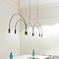 Простой светодиодный подвесные светильники черный полукруглой линии подвесные светильники гладить Hanglamp гостиная столовая Кухонный инвен