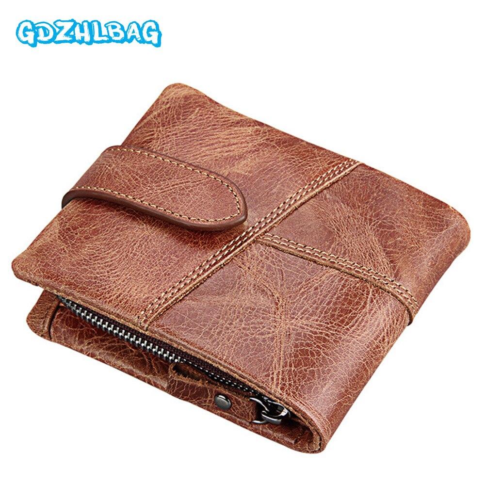 GDZHLBAG Genuine Leather Men Wallet Small Zipper Men Walet Portomonee Male Short Coin Purse Brand Perse Carteira For Rfid B176