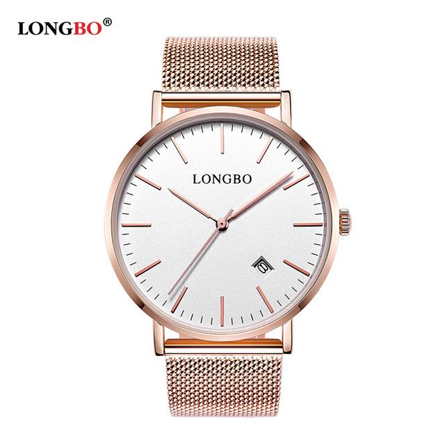 Longbo mens top marca de moda de luxo homens relógio ultra fino de ouro de Malha de Aço Relógios Mulheres Se Vestem de Quartzo Amantes Relógio orologio uomo