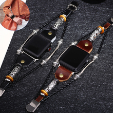 Vintage Leather Watch Band for Apple 42mm Series 4/3/2 Replacement Bead Bracelet 44mm iwatch 4 3 Strap 38mm 40mm