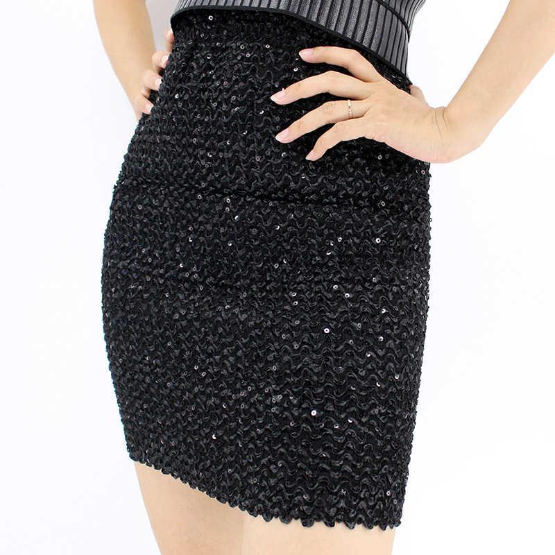2018 nouveau Sexy paillettes Mini jupes femmes Vintage taille haute jupe moulante courte jupe crayon argent Bling Micro jupe