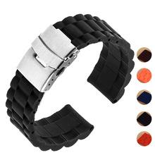 5 kolorów 18mm 20mm 22mm 24mm uniwersalny zegarek zespół gumy silikonowej Link pasek na rękę bransoletka światło miękkie dla mężczyzn kobiety zegarek tanie tanio Od zegarków RUBBER Stainless Steel Clasp 23cm Nowy z metkami BUMVOR JDSZK Watchbands