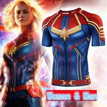 Hot New Movie Captain Marvel The Avengers 4 Armor Cosplay Costumes Quick Dry Tights T Shirt Short Sleeve Fashion Man Woman Tees