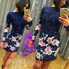 New Autumn Women Color Floral Print Dress Vintage O Neck Long Sleeve Casual Vestido Feminina