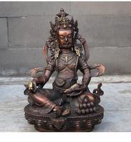 Gilt Tibetan Buddhism Red bronze Yellow Jambhala Buddha wealth God Tantra Statue Art Bronze sculpture home decoration