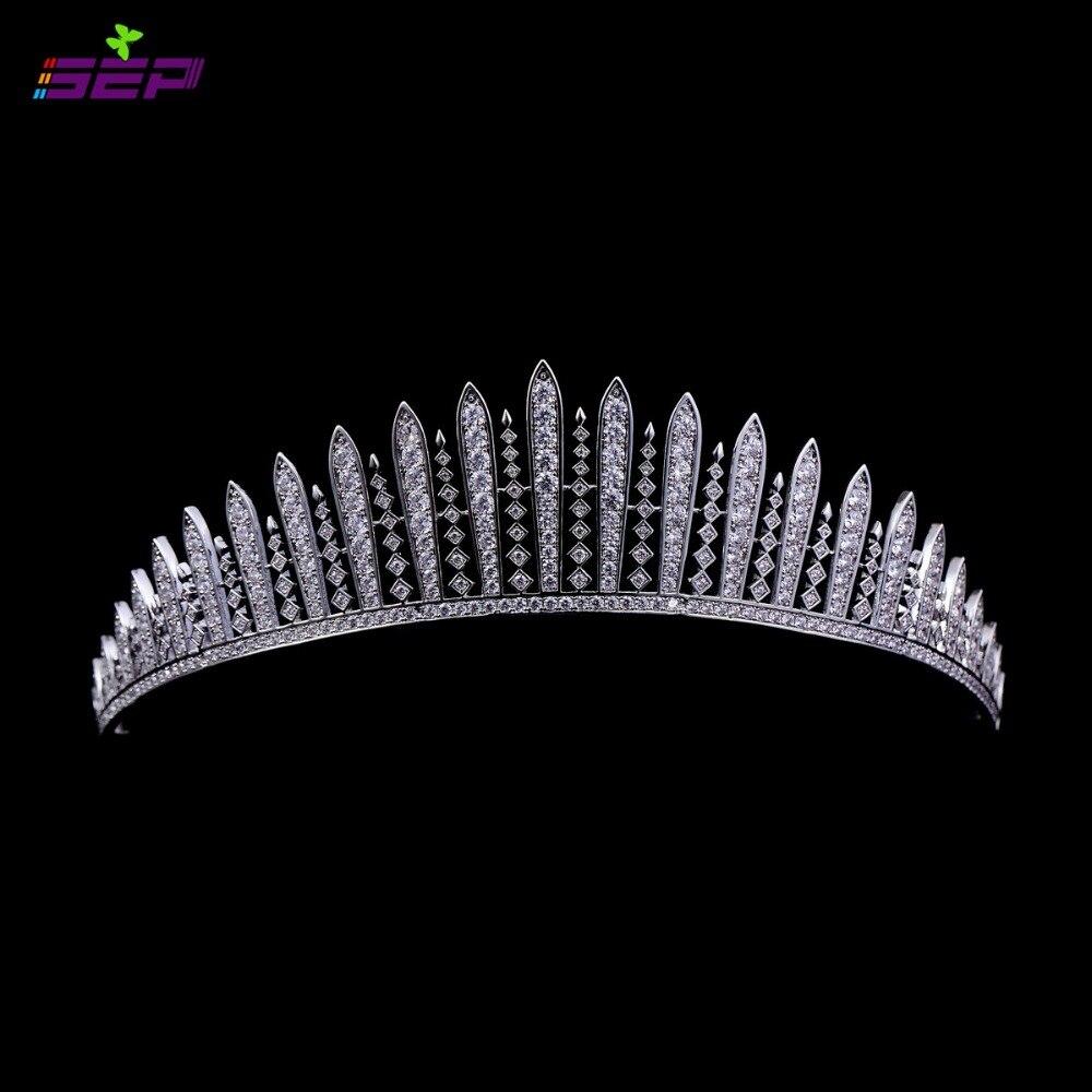 Micro Pave AAA CZ feuille couronne mariage diadème mariée cheveux accessoires bijoux anniversaire reconstitution historique couronne TR15032